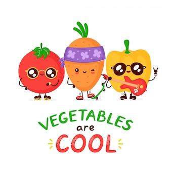Leuke grappige vrolijke tomaat, wortel en peper. cartoon karakter illustratie