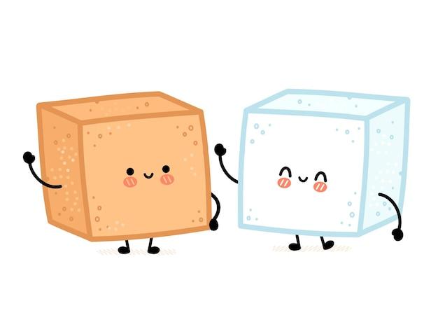 Leuke grappige vrolijke witte en bruine rietsuiker stuk kubus karakter