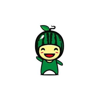Leuke grappige watermeloen fruit karakter vector vlakke stijl cartoon kawaii karakter illustratie