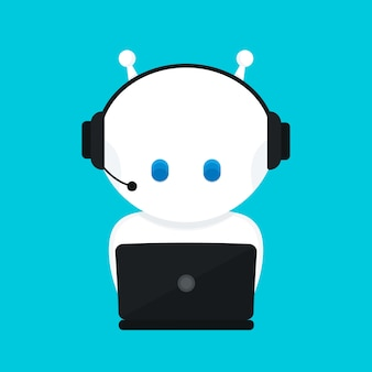 Leuke grappige witte robot, chatbot. moderne platte cartoon karakter illustratie. geïsoleerd op blauwe achtergrond. voice support service chat bot, virtuele online help klantenondersteuning