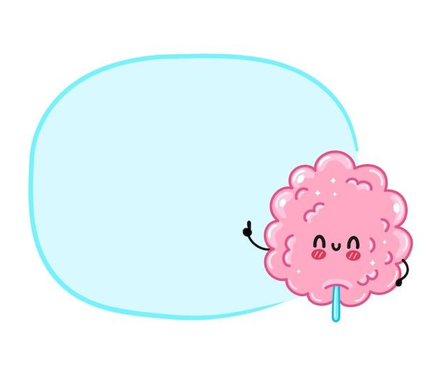 Leuke grappige zoete suikerspin met leeg tekstvak. vector hand getekend cartoon kawaii karakter illustratie sticker pictogram. geïsoleerd op een witte achtergrond. zoet suiker suikerspin logo concept