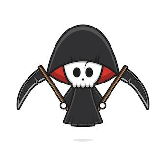 Leuke grim reaper met zeis halloween cartoon pictogram illustratie. ontwerp geïsoleerde platte cartoonstijl