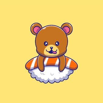 Leuke grizzly heerlijk genieten bovenop sushi illustratie. grizzly mascotte stripfiguren.