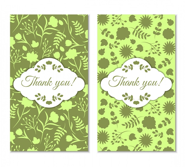 Leuke groene vintage bloemen bedankkaartenset.