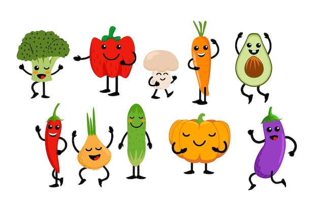 Leuke groenten en fruit kawaii groente fruit tekenfilm tekenset clipart voor kinderen met gezicht