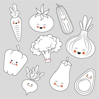 Leuke groenten tekenfilms tekens
