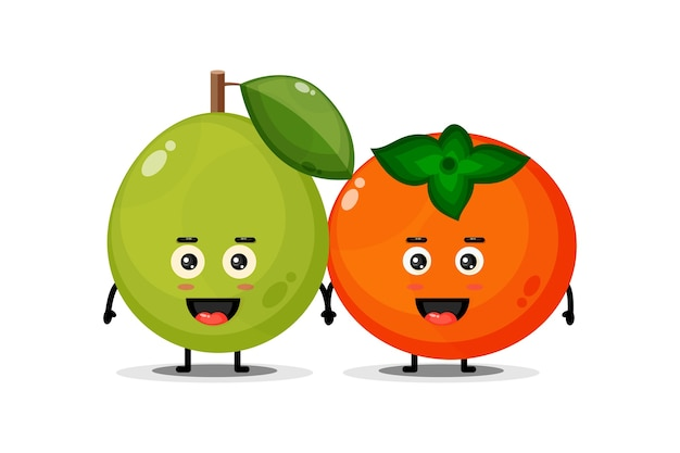 Leuke guave en persimmon mascotte hand in hand