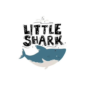 Leuke haai. grappige kaart voor babyjongen met letters: kleine haai.
