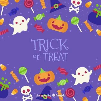 Leuke halloween-achtergrond in vlak ontwerp