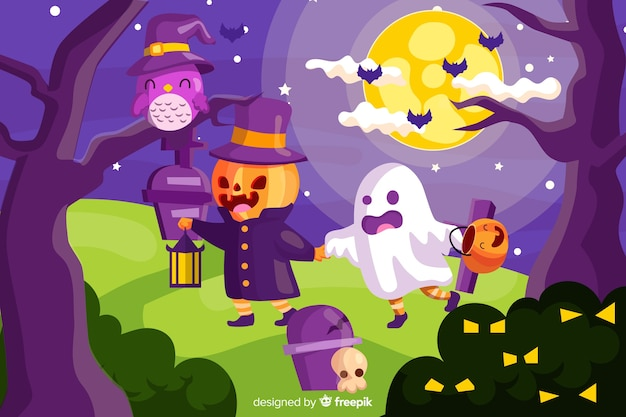 Leuke halloween-achtergrond met vlak ontwerp