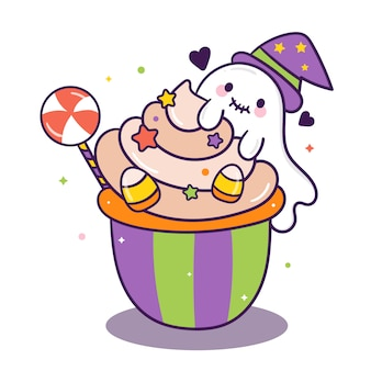 Leuke halloween cake cartoon snoep met geesten