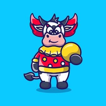 Leuke halloween clown koe met bal