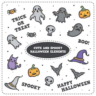 Leuke halloween-geest, pompoen, knuppel, kat en spin