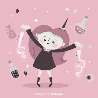 Leuke halloween-heks die door drankjes voor spreuken wordt omringd