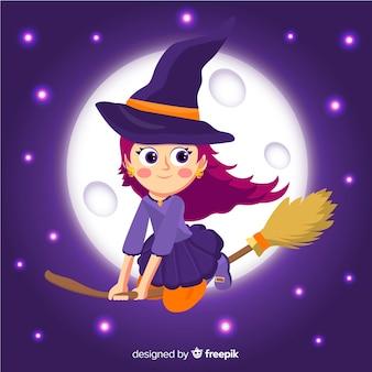 Leuke halloween-heks die in een sterrige nacht vliegt