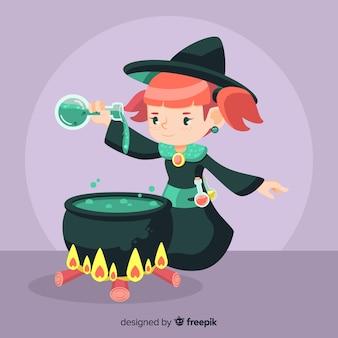 Leuke halloween-heks die spell maakt
