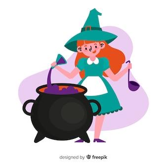 Leuke halloween-heksenillustratie
