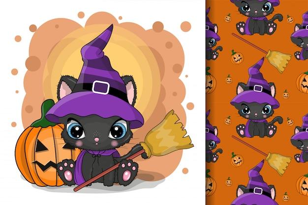 Leuke halloween-illustratie van beeldverhaalkat met pompoen op een witte achtergrond