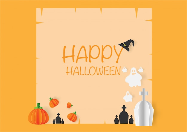 Leuke halloween-kaart met pompoen