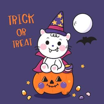 Leuke halloween-kattenbeeldverhaal op het dier van pompoenkawaii