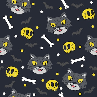 Leuke halloween kattenpatroonillustraties