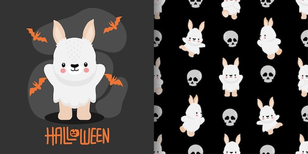Leuke halloween konijn bunny cartoon doodle naadloze patroon illustratie