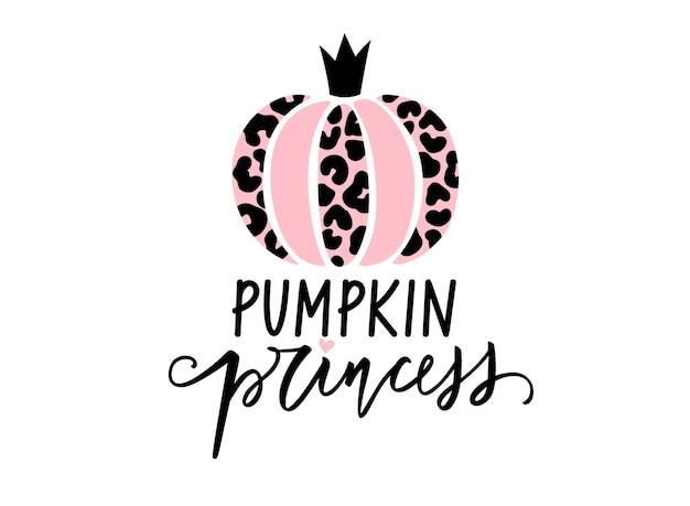 Leuke halloween luipaard pompoen vectorillustratie. pompoen prinses