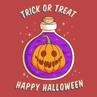 Leuke halloween magische fles of pot met plat ontwerp beste gebruik voor poster webbanneruitnodiging