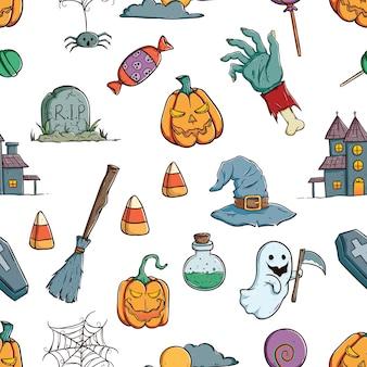Leuke halloween-pictogrammen of elementen in naadloos patroon met het kleuren van getrokken hand of krabbel ar