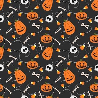 Leuke halloween-pompoen en schedel naadloos patroon