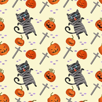 Leuke halloween-pompoen met het naadloze patroon van de mummie zwarte kat.