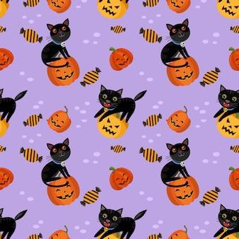Leuke halloween-pompoen met zwart katten naadloos patroon.