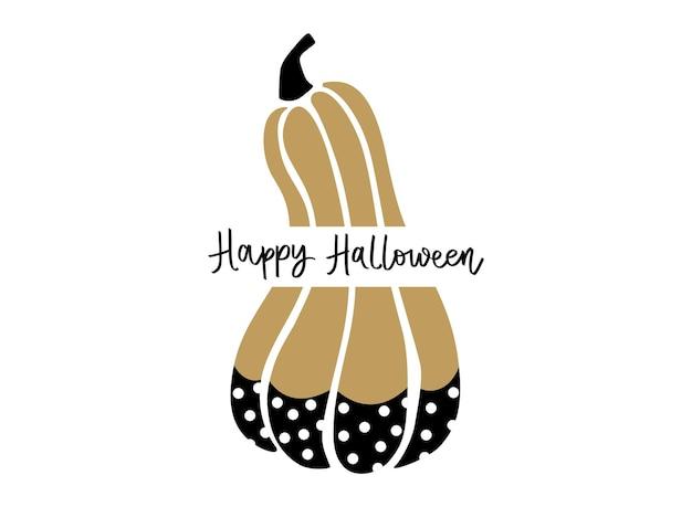 Leuke halloween pompoen vectorillustratie. cartoon herfst symbool geïsoleerd op een witte achtergrond. happy halloween hand getrokken belettering zin.