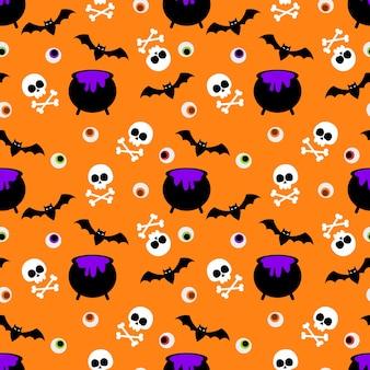 Leuke halloween-schedel en gif naadloos patroon