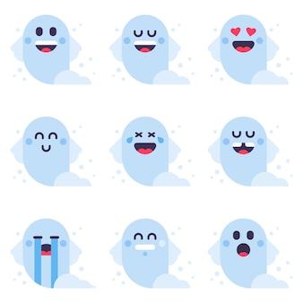 Leuke halloween-spook kleine emoji-spookglimlach spook geïsoleerde platte vectorillustratie