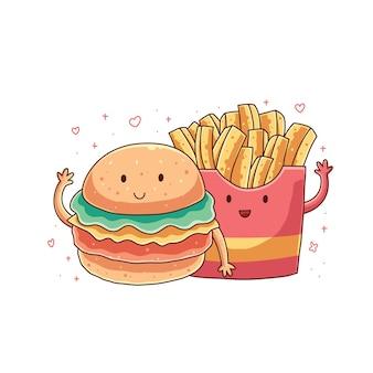 Leuke hamburger illustratie ontwerp vector