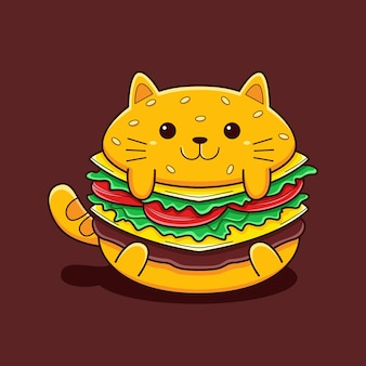 Leuke hamburger kat illustratie met platte cartoon stijl.