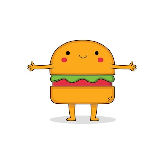 Leuke hamburger stripfiguur