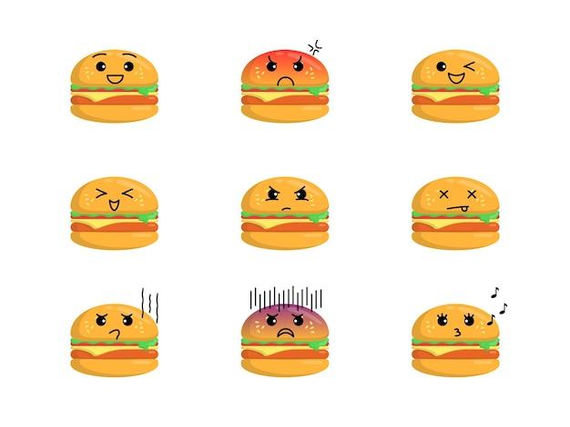 Leuke hamburgerillustratie met verschillende uitdrukkingen