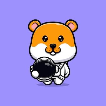 Leuke hamster die de cartoonillustratie van het astronautenkostuum draagt