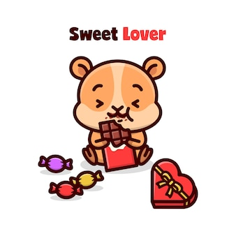 Leuke hamster die valentijnse chocolade eet en zo gelukkig voelt.
