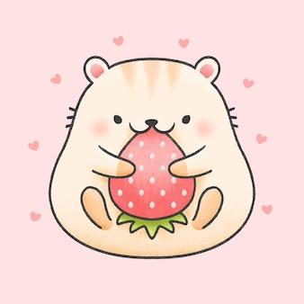 Leuke hamster eet aardbei cartoon hand getrokken stijl