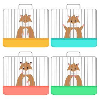 Leuke hamster in kooi, verschillende emotie, vlakke stijl. geïsoleerd