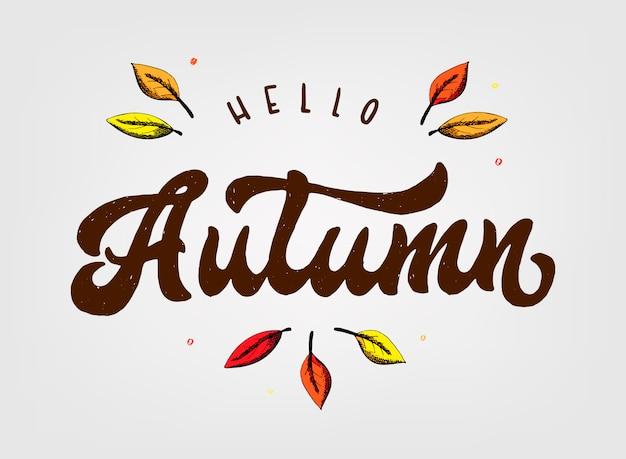 Leuke hand belettering citaat 'hallo herfst'