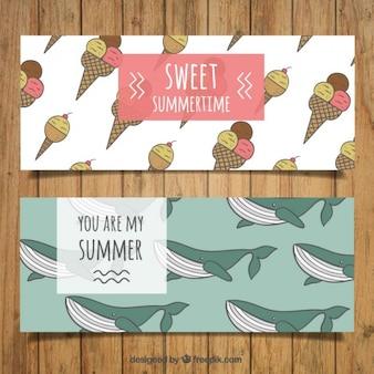 Leuke hand getekende ijsjes en walvissen banners