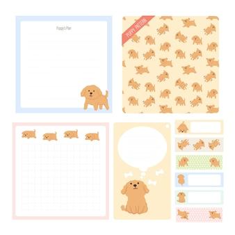 Leuke hand getekende illustratie sticky notes puppy collectie