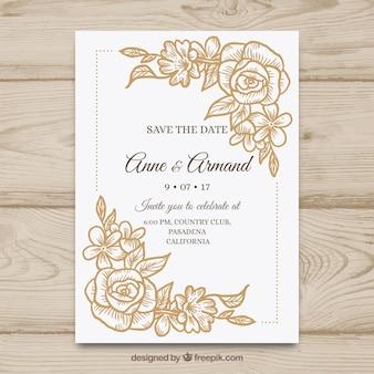 Leuke hand getrokken bruiloft uitnodiging met bloemen