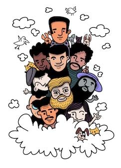 Leuke hand getrokken doodles, gezicht mensen schetsen menigte van grappige volkeren