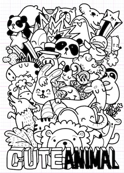 Leuke hand getrokken doodles, schattige doodle dieren illustratie