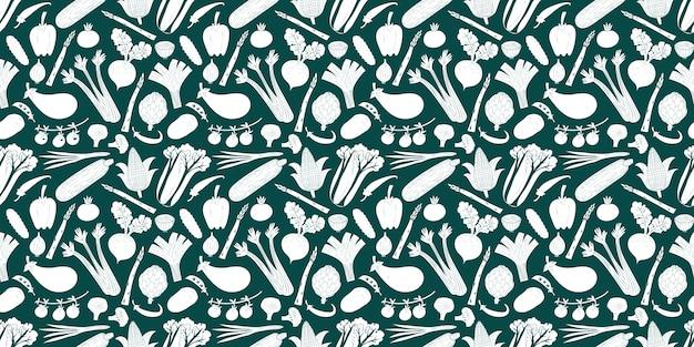 Leuke hand getrokken groenten naadloze patroon.